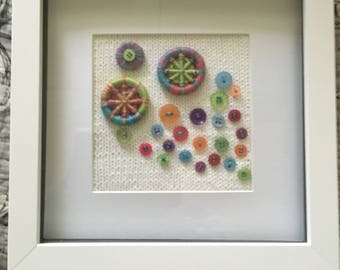 Colourful Dorset Buttons - Knitted Artwork
