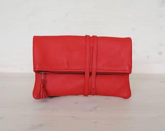 Red Leather Clutch, Leather Clutch, Evening Clutch, Bridesmaids Clutch, Zipper Clutch, Foldover Clutch, Clutch Bag, Tassel Clutch, Clutch