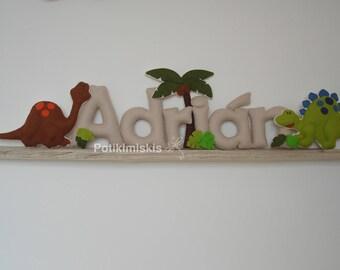 Dinosaurs, custom felt letters, custom felt name, felt decoration, handicraft