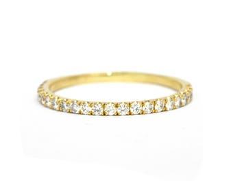 Half Eternity Diamond Wedding Band, Diamond Wedding Ring, Diamond Stacking Ring,Wedding Band for Woman, Anniversary Ring, Stacking Band