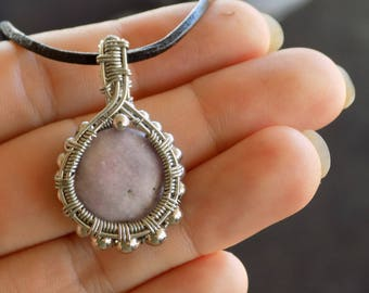 Pink Gemstone Crystal Aventurine Wire Wrapped Mini Pendant - Silver Heady Wire Wrap Mystical Unique Bohemian Fairy Jewelry - Gifts for her