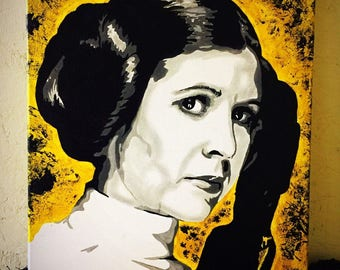 Star Wars Princess Leia Carrie Fisher Original Authentic Oil Painting