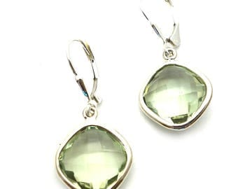 Dainty and Sophisticated Green Amethyst Earrings Handmade in Sterling Silver with Secure Lever Backs