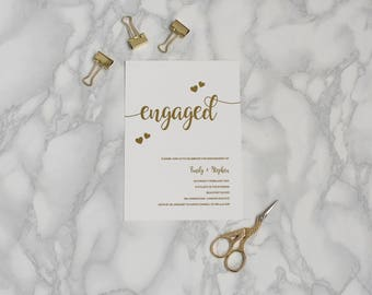 Gold Foil Engagement Party Invitation - Simple Elegant Engagement Invite - Metallic Foil Engagement Invitation