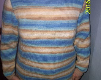 Hand knitted striped round neck men or women pullover magical 42/44