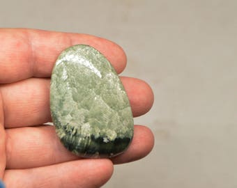 Seraphinite Clinochlor Polished Palm Stone, 52 х 35 х 12  mm, 28 g, Seraphinite Clinochlor Pebbles