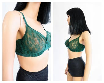 Sheer Lace Bra 1980s Green Lingerie 80s Intimates Pin Up 90s Bombshell 1990s Mesh Soft Cups Underwire Floral Evergreen Playtex 38 D