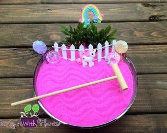 Zen Garden Kit, Mini Zen Garden, Unicorn Garden, Pink, Unicorn Gift, Unicorn Habitat, Unicorn kit, Fairy Garden Kit, Zen kit, Unicorn, Fairy