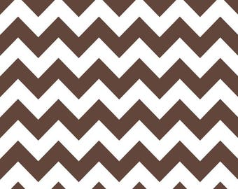 Brown and white collection patchwork fabric medium chevron by Riley Blake C320