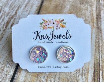 Lavender Druzy Studs, Custom Earrings, Cute 10mm, Wedding, Bridal, Druzy Jewelry, Druzy Earrings