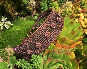 Purple wire woven bracelet