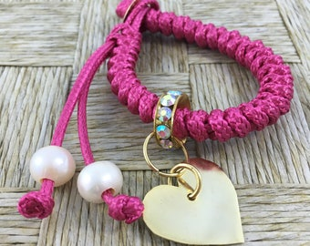 Beautiful Handmade Macrame knitted Bracelet with Bronze Platted in gold Pendant