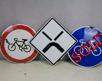 Enamel Traffic Signs, Traffic Signs, Old Traffic Signs