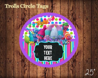 Trolls Circle Tags , Personalized Trolls Labels, Party Labels, Printable Supplies, Party Supplies