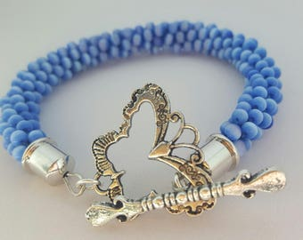 FREE SHIPPING!!!!!!!!!!Kumihimo blue cats eye beaded bracelet