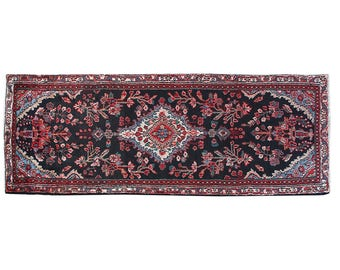 """Distressed Rug, Home Décor, Wool Area Rug, Turkish Rug, Floral Rug, Hallway Runner, Runners, Persian Rug, Hand knotted rug, 9'4"""" x 3' ,S2299"""