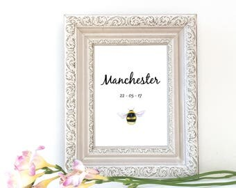 Manchester remembrance print / don't look back in anger print / Manchester print / Bee print