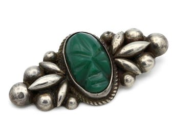 Antique Tribal Jewelry, Mayan Warrior 1940s Brooch, Carved Face Gemstone Pin, 925 Sterling Silver, Aztec Ethnic Mask Pin, Green Onyx Stone