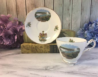 Niagra Falls from General Brocks Hotel Canada Regency Vintage Fine Bone China Cup and Saucer Set England Made