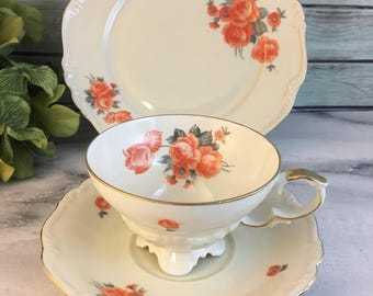 Edelstein Orange Flowers White Pompadour Gold Trim Tea Trio Cup and Saucer Plus Dessert Plate Fine Bone China Vintage Bavaria Made Numbered
