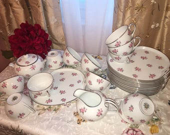 Noritake 5539 Rose Palace Tea Set for 12 Snack Plates Teacups Creamer and Sugar w Lid for Luncheon Shower Afternoon Tea Entertaining 27 pcs