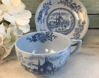 Tulip Time Blue Windmill Johnson Brothers Tea Cup and Saucer Ironstone Vintage England Staffordshire Made Lovely EVC Multiples Orphan Saucer