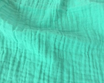 10 yards Aqua - Sunny Saloo - 100% cotton fabric from Thailand - double gauze or muslin fabric with no grid lines