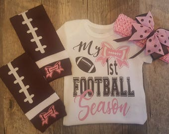 My First Season Football Onesie, Leg Warmers and Custom Bow/Band Set - Can Do Football Colors Of Choice - For Girl or Boy