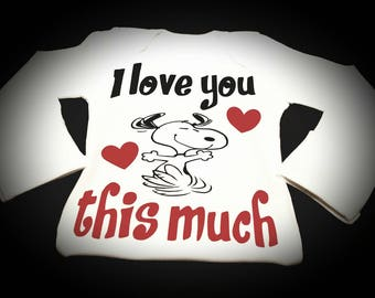 Preemie, Baby, Newborn, Unisex, Toddler, I Love You This Much, Snoopy, Onesie, Bodysuit