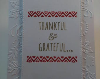 Thankful and Grateful Card, Handmade Thank You Card, Handmade Thankful Card, Thank You Card, Thankful Card