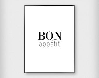 Bon Appetit Print | Kitchen | Black and White | Typography - Eat - Poster
