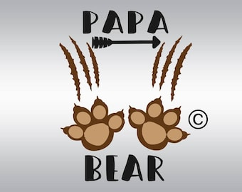 Papa bear family bears SVG Clipart Cut Files Silhouette Cameo Svg for Cricut and Vinyl File cutting Digital cuts file DXF Png Pdf Eps