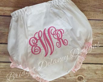 Monogrammed infant bloomers pink eyelet lace ruffled diaper cover
