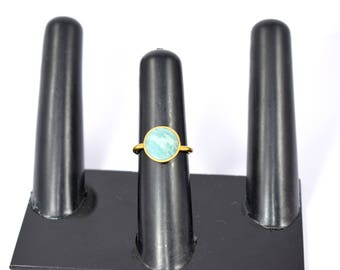Amazonite gemstone ring , round ring , gold plating ring , adjustable ring ,stacking ring ,50% off on sale, gemstone ring green color ring ,