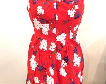 Vintage, 1950s, 1960s, Size 10, Hawaiian, Sundress, Red, Floral Print, Halter, Cotton, Knee Length, Excellent