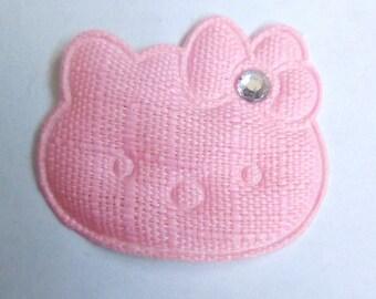 Pink 26x30mm fabric cat applique