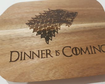 Game of Thrones Cutting Board - Dinner is Coming - Small Acacia Board - GOT - Dire Wolf - Cheese Board - Paddle Board - Laser Engraved
