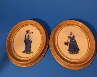 Vintage petite point  in ovql wood frame. Dutch pair framed petite point. Netherlands old couple in wood frame.