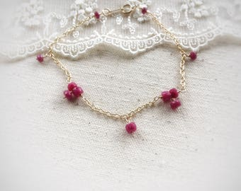 Ruby bracelet,July birthstone,genuine ruby gemstones bracelet,ruby jewelry 14 k gold filled delicate bracelet,gift for her
