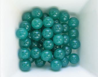 2 beads of Jade 10mm Green turquoise stone Lagoon (Réf. LP02-30)