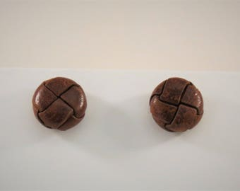 Woven Circle Leather Button Stud Earrings, Choose From Two Different Styles