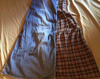 Zena denim with plaid wrap skirt size 6 super cute!