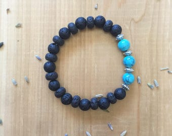 Turquoise Bracelet, Essential Oil, Diffuser Bracelet, Turquoise Beads, Black Lava Beads, Silver Spacer Beads