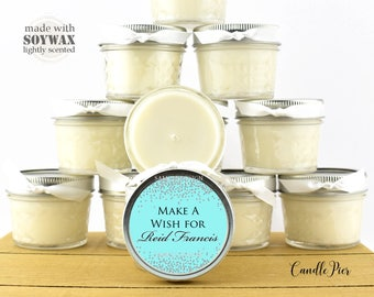 12 ct Robin's egg blue theme, 4 oz personalized soy candles, Baby Shower favors, Baptism favors, Sweet 16 favors or any occasion