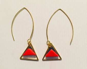 Gold and orange triangles earring