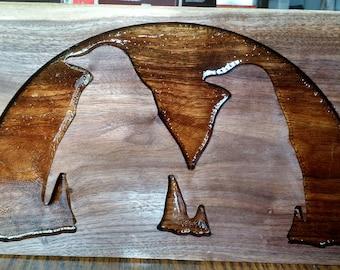 Two penguin pals wooden plaque