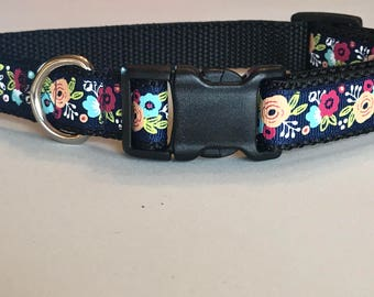 Navy & Floral Dog Collar