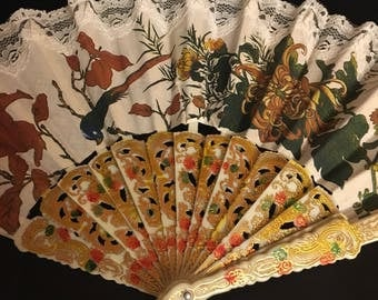 Vintage Decorated Opening Painted Hand Fan