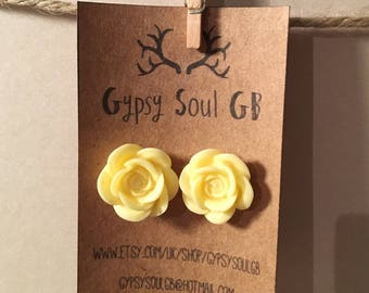 Flower earrings, rose earrings, yellow earrings, yellow flower, christmas present, stocking filler, gift for girls,