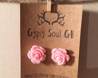Flower earrings, rose earrings, pink earrings, pink flower, christmas present, stocking filler, gift for girls,
